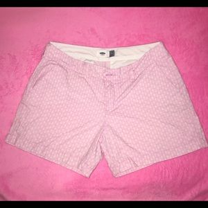 Old Navy Shorts Sz 6 pink and white pineapple EUC